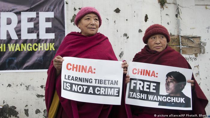 Tibet - Zwei Nonnen fordern Freilassung des 31-jährigen Tashi Wangchuk (picture alliance/AP Photo/A. Bhatia)