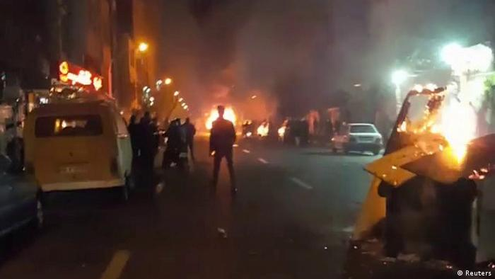 Fires burning amid protests