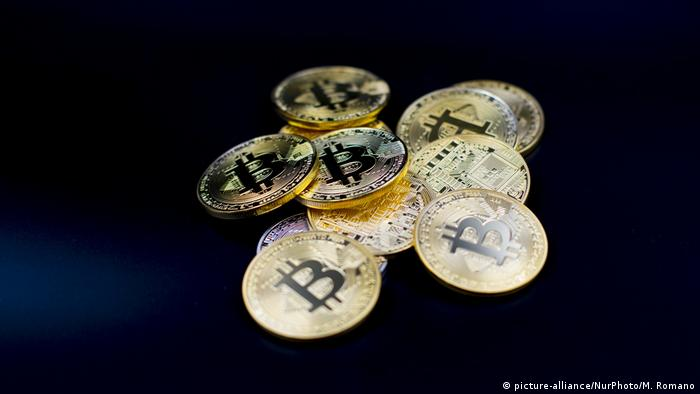 A view of Bitcoin physical coins. Futures on Bitcoins increased by more than 20% after their American debut on the Chicago Cboe Futures Exchange.