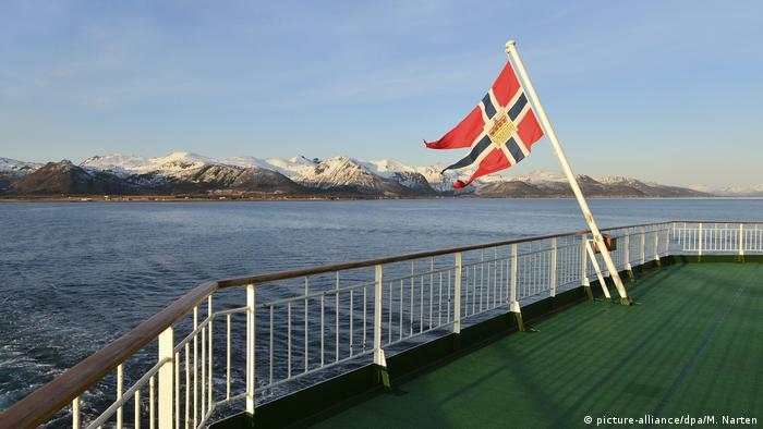 The Norwegian flag and fjords