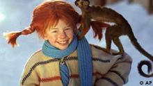 FILE- This is a February 1968 file photo of Inger Nilsson dressed as Pippi Longstocking, with her monkey Mr Nilsson on her shoulder. Swedish author Astrid Lindgren has died, 94 years old, Swedish news agency TT reported Monday. Lindgren wrote childrens books about Pippi Longstocking, Karlsson on the roof and other popular figures.(AP photo/Pressens Bild/Jan Delden) SWEDEN OUT