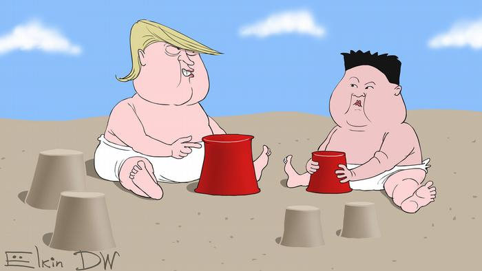 Trump y Kim juegan en pañales en la Arena. Trump tiene un cubo rojo que es más grande, una clara alusión al botón rojo para misiles nucleares.