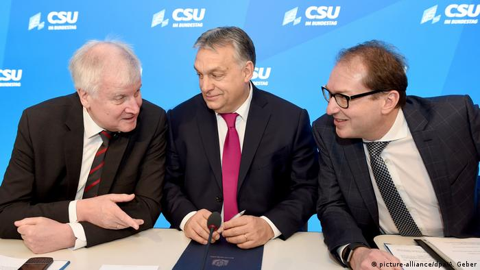 CSU party leader Horst Seehofer with Hungarian Prime Minister Viktor Orban and Bavarian CSU faction leader Alexander Dobrindt at the CSU party conference in Kloster Seeon, Germany