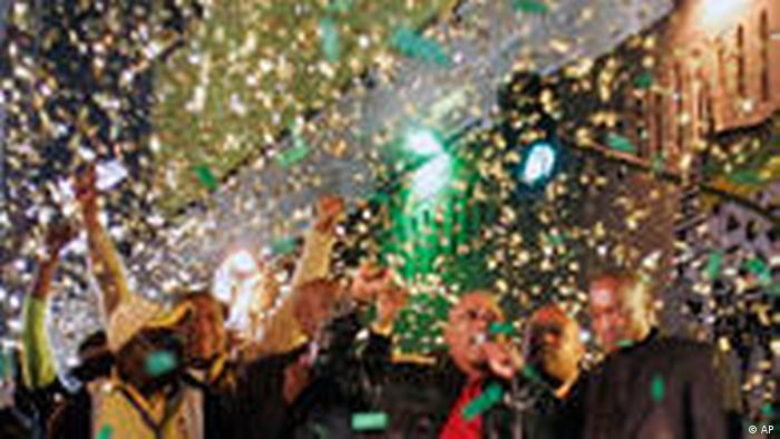 Jacob Zuma and others at celebrations for his election victory in 2009.