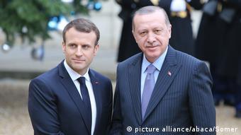 Fransa Cumhurbaşkanı Emmanuel Macron ve Türkiye Cumhurbaşkanı Recep Tayyip Erdoğan