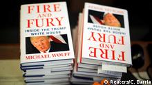 05.01.2018 Copies of the book Fire and Fury: Inside the Trump White House by author Michael Wolff are seen at a local book store in Washington, DC, U.S. January 5, 2018. REUTERS/Carlos Barria NO RESALES. NO ARCHIVES