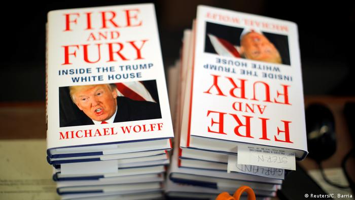 A shot of the book Fire and Fury: Inside the Trump White House