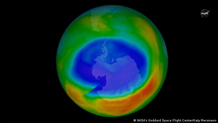 NASA illustration of ozone hole over Antartica