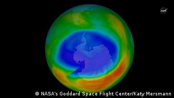 Videostill from NASA showing a representation of the Ozone hole over Antarctica (NASA's Goddard Space Flight Center/Katy Mersmann)