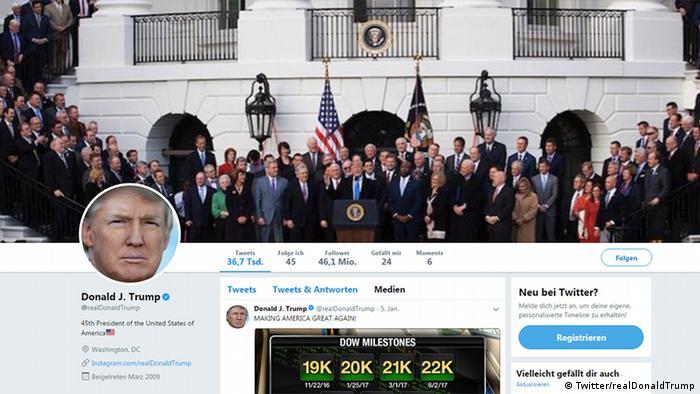 Screenshot Twitter Account US-Präsident Donald Trump (Twitter/realDonaldTrump)