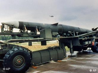 A Pershing II missile is seen on a semi-trailer