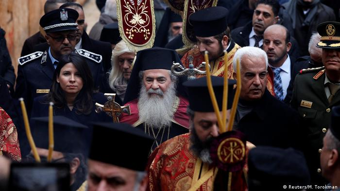 the greek orthodox patriarch of jerusalem theophilos iii made it through the protest for christmas celebrations