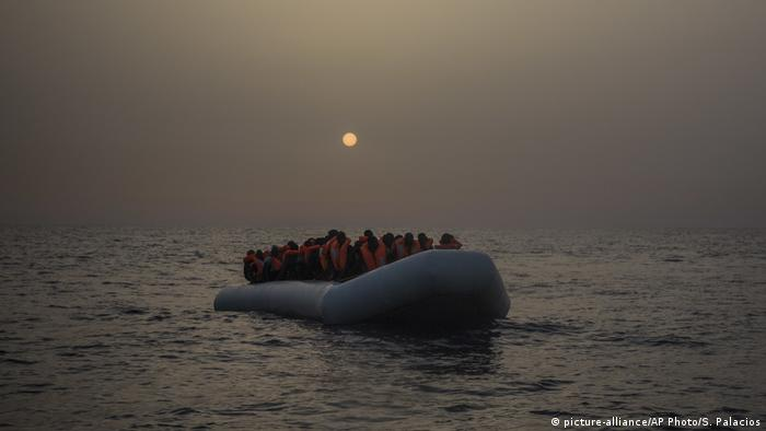 African migrants in a lifeboat on the Mediterranean Sea
