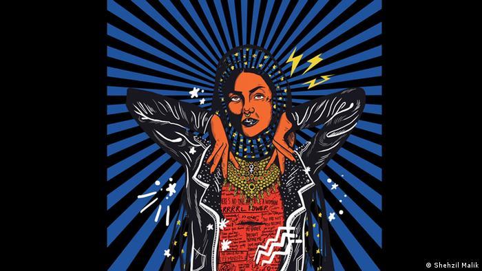 Kunstwerk von Shehzil Malik, das eine Frau in Lederjacke und Hijab zeigt. (Shehzil Malik)