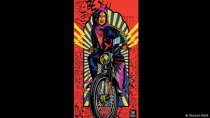Kunstwerk von Shehzil Malik, das eine Frau mit Hijab auf einem Motorrad zeigt. (Shehzil Malik)