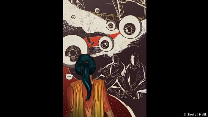 Kunstwerk von Shehzil Malik, das eine Frau von hinten zeigt, die von zwei im Schneidersitz hockenden Männern angegafft wird. (Shehzil Malik)