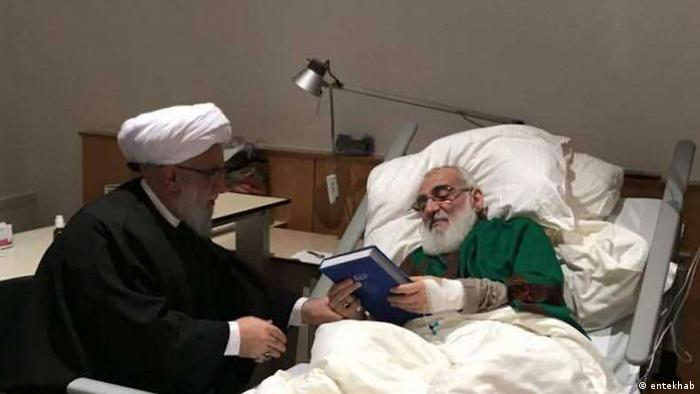 Mahmud Hashemi Shahrudi in his hospital bed in Hanover (entekhab)