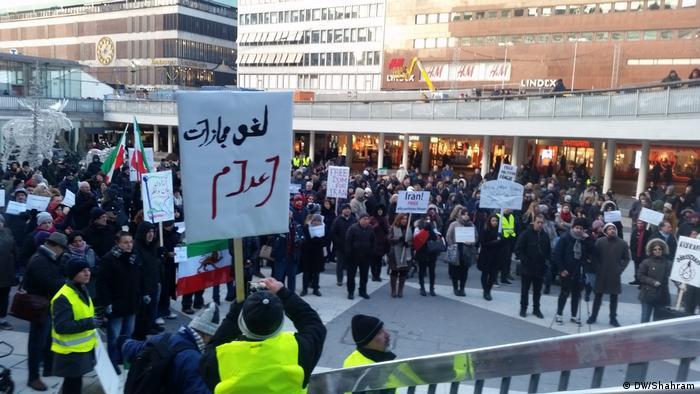 Schweden Stockholm - im Ausland sesshafte Iraner solidarisieren sich mit Protesten in ihrer Heimat (DW/Shahram)