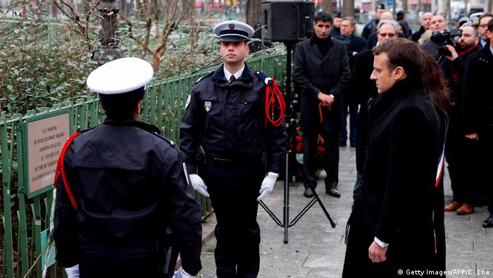 Frankreich Paris - Emannuel Macron bei der Gedenkfeier der Opfer von Charlie Hebdo (Getty Images/AFP/C. Ena)