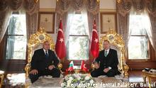 Turkish President Tayyip Erdogan meets with Bulgaria's Prime Minister Boyko Borissov in Istanbul, Turkey, January 7, 2018. Yasin Bulbul/Presidential Palace/Handout via REUTERS ATTENTION EDITORS - THIS PICTURE WAS PROVIDED BY A THIRD PARTY. NO RESALES. NO ARCHIVE.