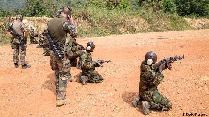 Séance de formation des soldats centrafricains.