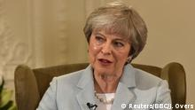 06.01.2018+++UK+++ Britain's Prime Minister Theresa May speaks on the BBC's Andrew Marr Show, in this photograph received via the BBC, in her Maidenhead constituency in Britain January 6, 2018. Picture taken on January 6, 2018. Jeff Overs/BBC/Handout via REUTERS ATTENTION EDITORS - MANDATORY CREDIT. NO SALES. NO ARCHIVES. NOT FOR USE MORE THAN 21 DAYS AFTER ISSUE. THIS IMAGE HAS BEEN SUPPLIED BY A THIRD PARTY. IT IS DISTRIBUTED, EXACTLY AS RECEIVED BY REUTERS
