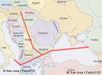 The South Stream pipeline's path from Russia, under the Black Sea, through Bulgaria, Greece, Italy, Serbia, Hungary, Slovakia and Austria