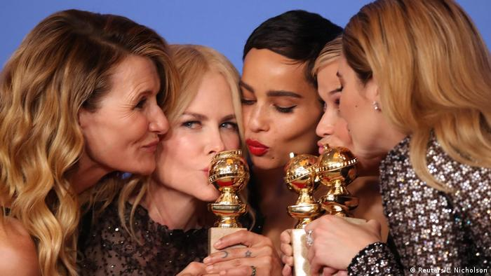 Laura Dern, Nicole Kidman, Zoe Kravitz, Reese Witherspoon and Shailene Woodley at the Golden Globes 2018 (Reuters/L. Nicholson)