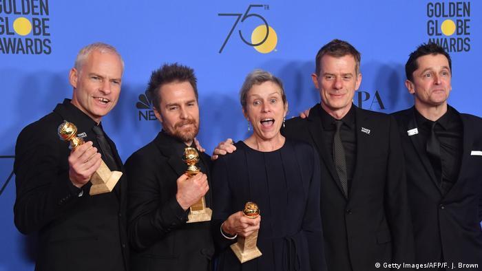 Golden Globes 2018 Martin McDonagh, Sam Rockwell, Frances McDormand, (Getty Images/AFP/F. J. Brown)