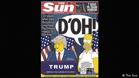The Sun cover with Homer Simpson and Donald Trump cartoon (The Sun)