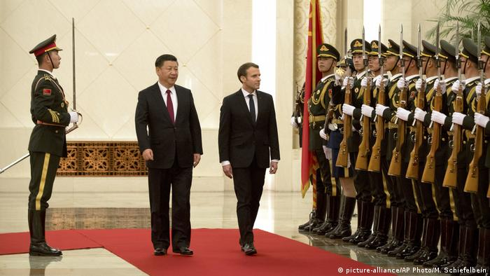 Macron was given a warm welcome, being offered a rare change to review a Chinese honor guard