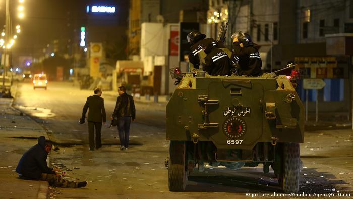 Tunisian police patrol the streets in Tunis