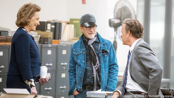 Meryl Streep, Steven Spielberg and Tom Hanks on the set of The Post