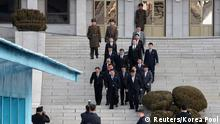 North Korean delegation led by Ri Son Gwon, Chairman of the Committee for the Peaceful Reunification of the Country (CPRC) of DPRK, leave for the south side to attend their meeting at the truce village of Panmunjom in the demilitarised zone separating the two Koreas, South Korea, January 9, 2018. REUTERS/Korea Pool