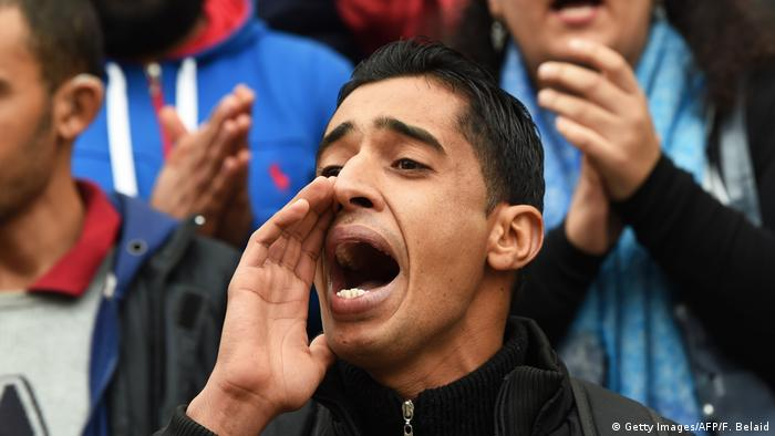 A protester yells in Tunis