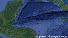 HANDOUT- Die von Google zur Verfügung gestellte undatierte Aufnahme zeigt das Zentrum eines Erdbebens der Stärke 7,6 etwa 250 Kilometer nördlich von Puerto Lempira in der Karibik. Das Zentrum des Bebens der Stärke 7,6 lag in zehn Kilometer Tiefe wie die US-Erdbebenwarte (USGS) mitteilte. Es wurde eine Tsunami-Warnung für Honduras, Guatemala, Costa Rica, Panama, Nicaragua, Mexiko, Belize, Cuba, Jamaika und die Kaiman-Inseln herausgegeben. ACHTUNG: Nur unmanipuliert zur redaktionellen Verwendung in Zusammenhang mit der Berichterstattung über das genannte Erdbeben und nur bei vollständiger Nennung der Quelle: Foto: Google/dpa +++(c) dpa - Bildfunk+++  