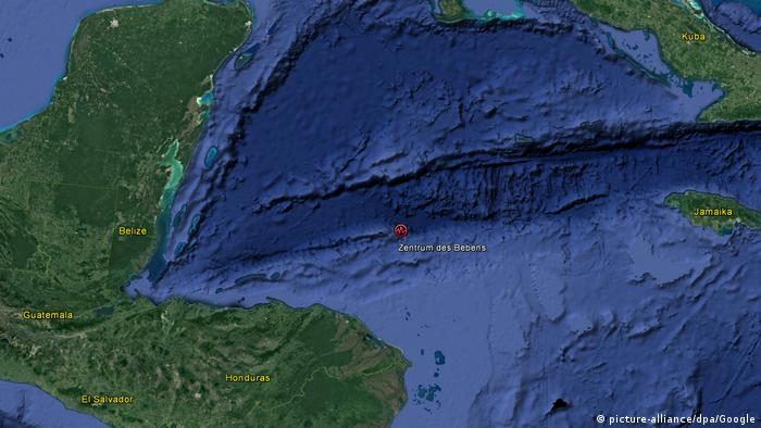 Karte vom schweren Erdbeben erschüttert Honduras (picture-alliance/dpa/Google)