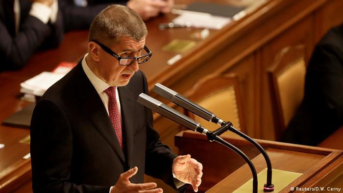 Czech Prime Minister Andrej Babis addresses parliament