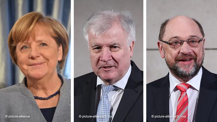 Merkel, Seehofer, Schulz