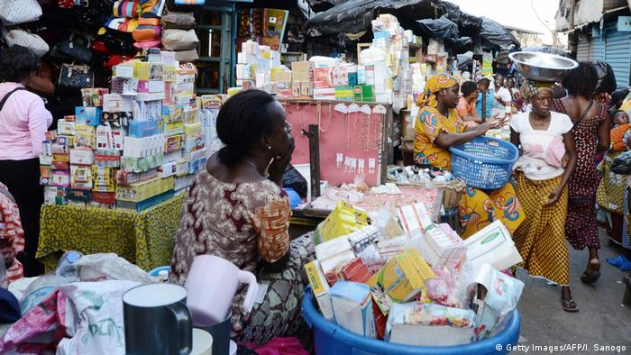 A market in Abidjan where women sell drugs and hygiene products