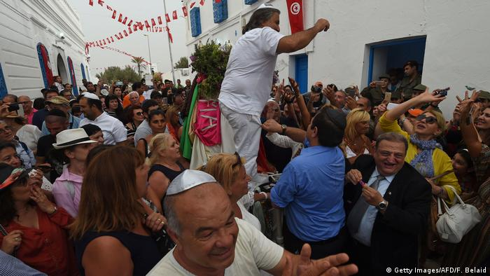 Pilgrims fill the streets of Djerba