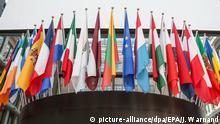 ARCHIV- Flaggen von Mitgliedsländern der EU, Belgien, 02. Juli 2014. Die EU hat 28 Mitgliedsländer. (zu dpa «EU - schaffen die 27 gemeinsam den Aufbruch?» vom 28.12.2017) Foto: Julien Warnand/EPA/dpa +++(c) dpa - Bildfunk+++ |