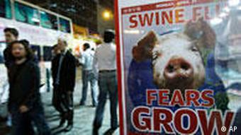 Poster depicting a pig, and the sentence swine flu fears grow