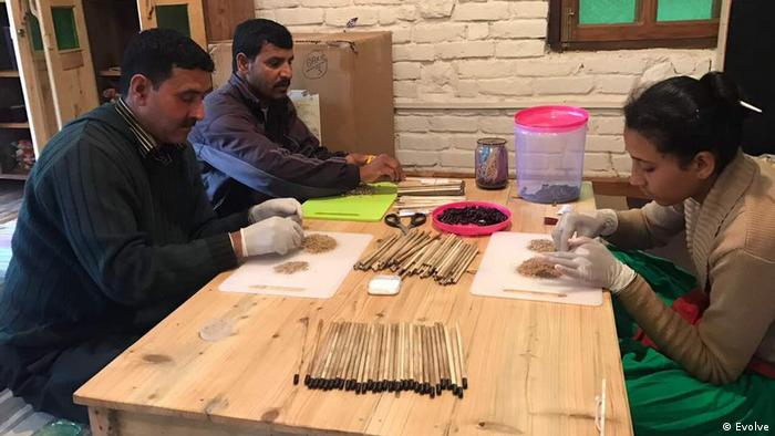 People making plantable pencils