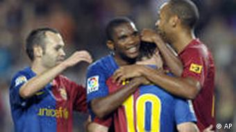 FC Barcelona Samuel Eto'o Thierry Henry Andres Iniesta Lionel Messi,