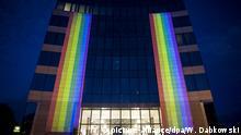Belgien EU Hauptquatier mit Regebagenflagge