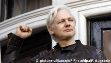UK Julian Assange auf dem Balkon der Botschaft von Ecuador in London (picture-alliance/AP Photo/dpa/F. Augstein)