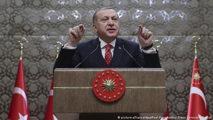 Turkish President Recep Tayyip Erdogan seen in Ankara railing against the US for not extraditing cleric Fethullah Gulen