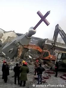 Abriss einer Kirche in China (picturealliance/dpa)