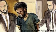 In this court room drawing, U.S. Marshals escort defendant Akayed Ullah, center, into court for his arraignment on charges that include providing material support to a terrorist organization and using a weapon of mass destruction, Thursday, Jan. 11, 2018 in New York. On Dec. 11, 2017, authorities say that Ulla detonated a pipe bomb on his person in a corridor linking the subway to the Port Authority bus terminal in New York City. (Elizabeth Williams via AP) |